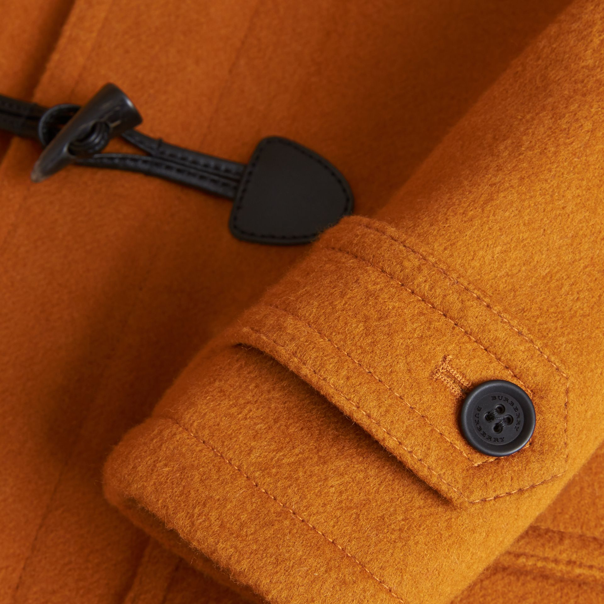 Wool Duffle Coat with Check-lined Hood in Bright Ochre - Girl | Burberry Australia - gallery image 2