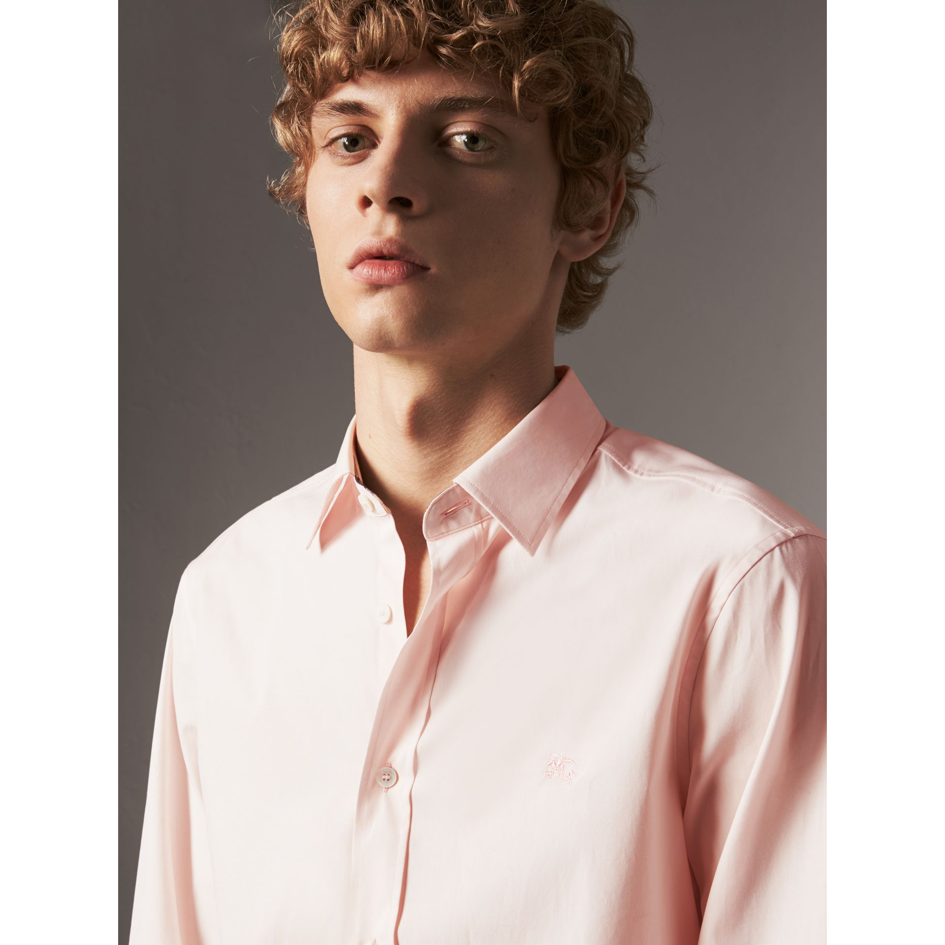 Check Detail Stretch Cotton Poplin Shirt in Pale Pink - Men | Burberry - gallery image 1