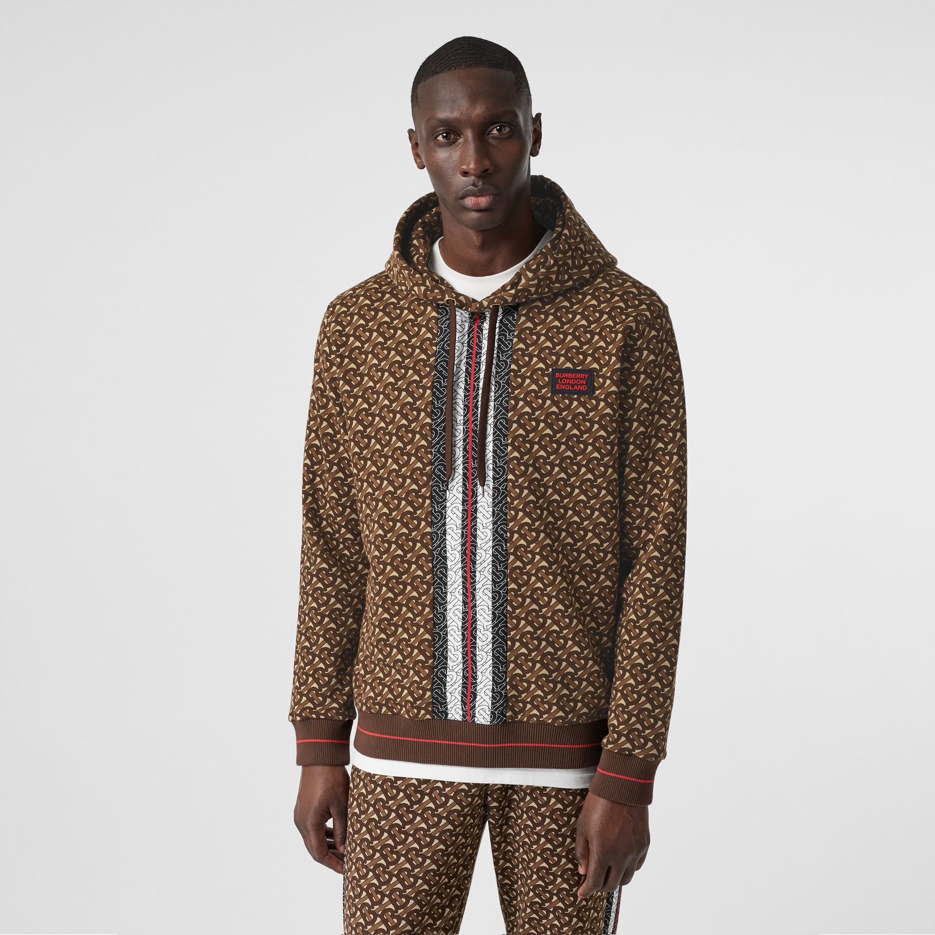 Monogram Stripe Print Cotton Hoodie in Bridle Brown - Men | Burberry United States - gallery image 0