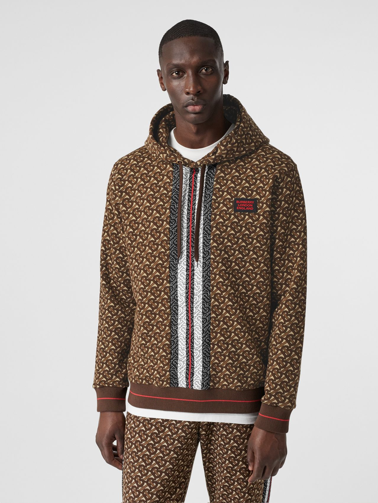 Monogram Stripe Print Cotton Hoodie in Bridle Brown