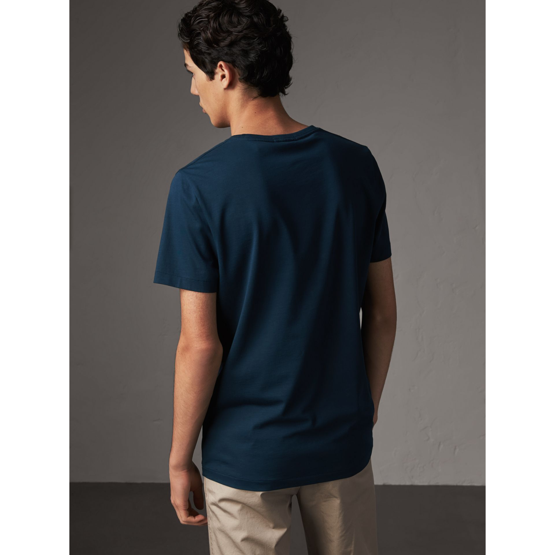 Cotton Jersey T-shirt in Navy - Men | Burberry - gallery image 3