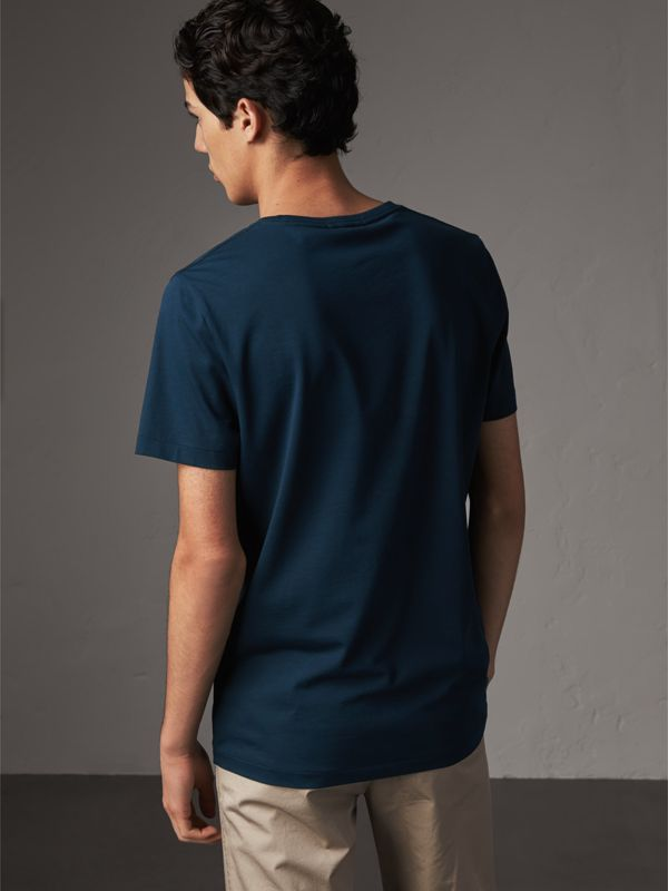 Cotton Jersey T-shirt in Navy - Men | Burberry - cell image 2