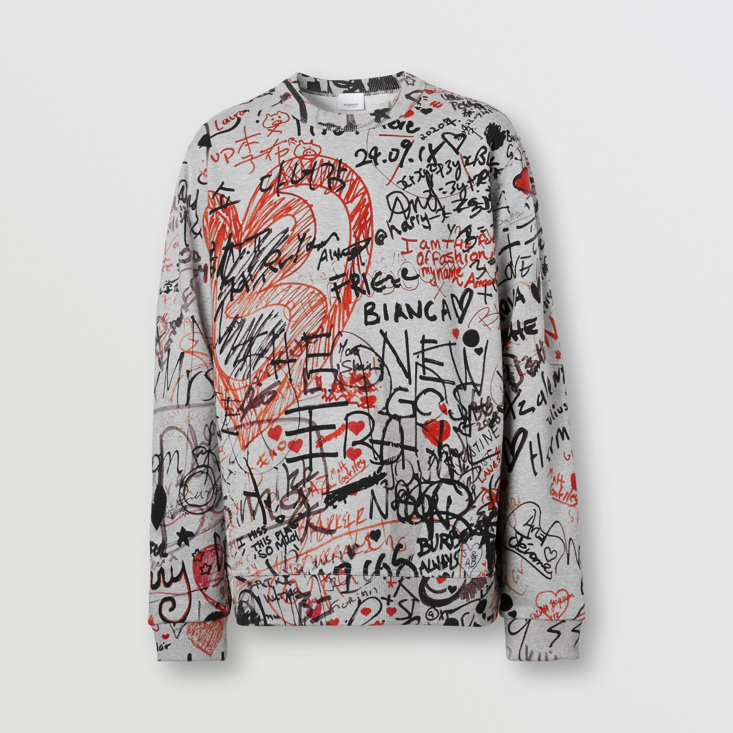 Graffiti Print Cotton Sweatshirt in Pale Grey Melange - Men | Burberry Australia - 4