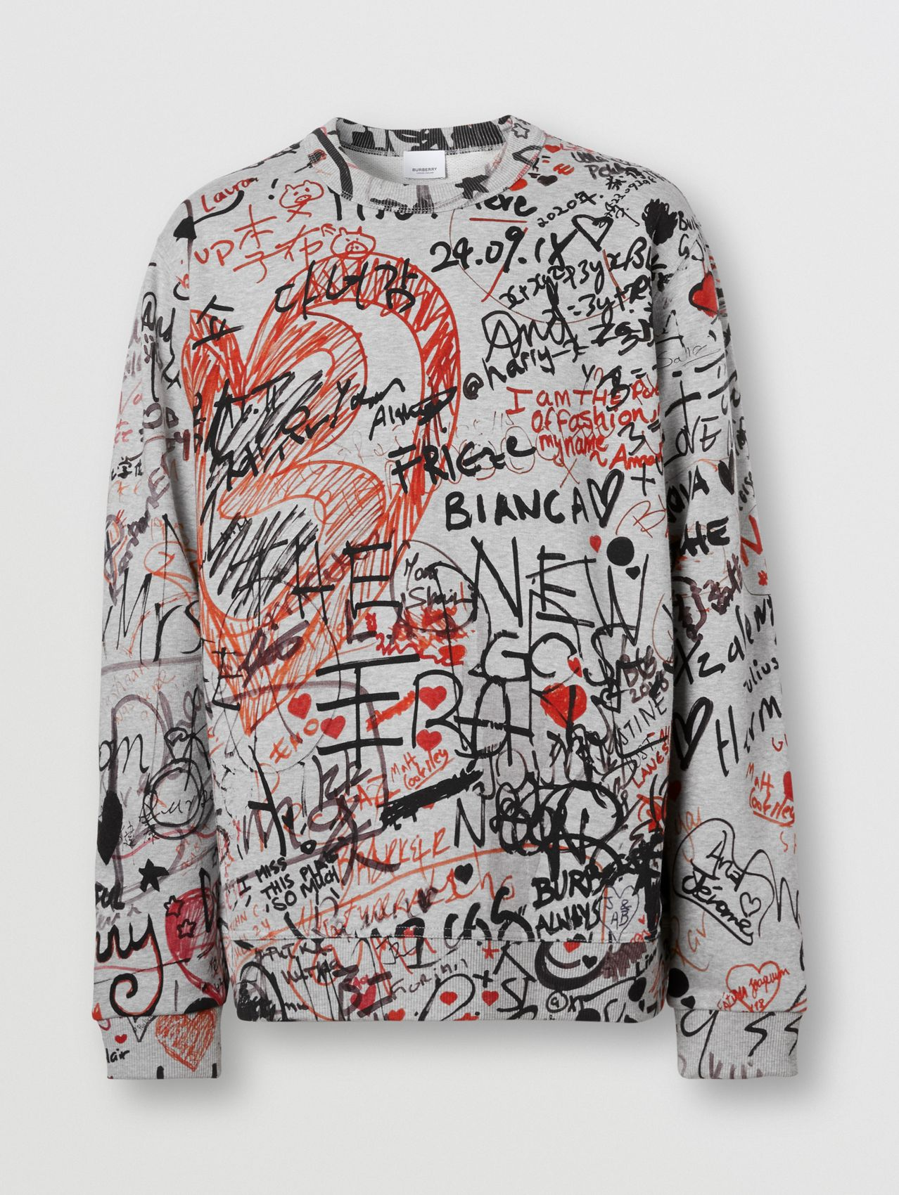 Graffiti Print Cotton Sweatshirt in Pale Grey Melange