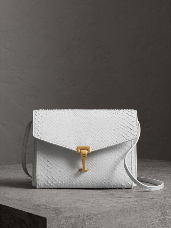 Small Python Crossbody Bag in Chalk White