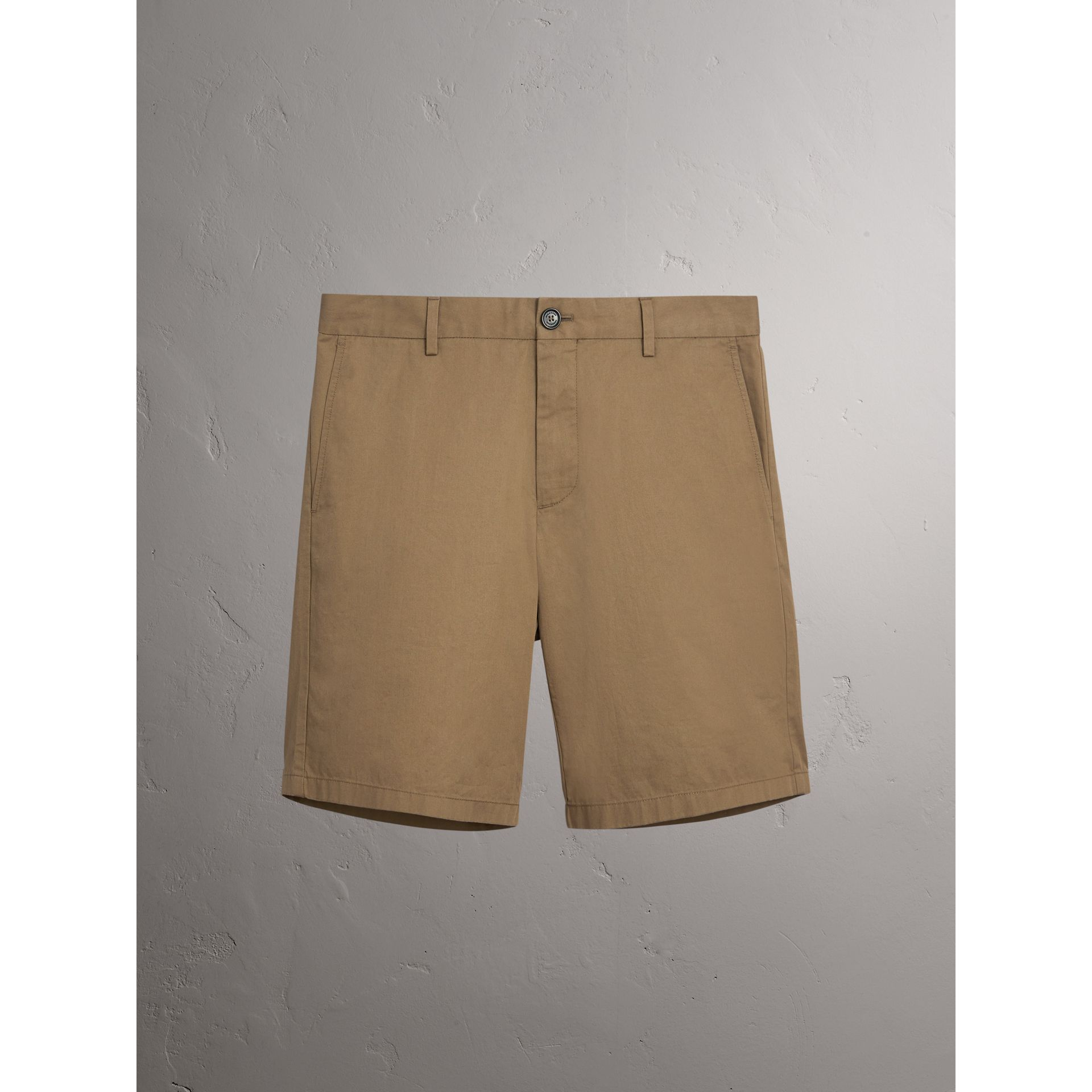 Cotton Twill Chino Shorts in Olive Green - Men | Burberry - gallery image 3