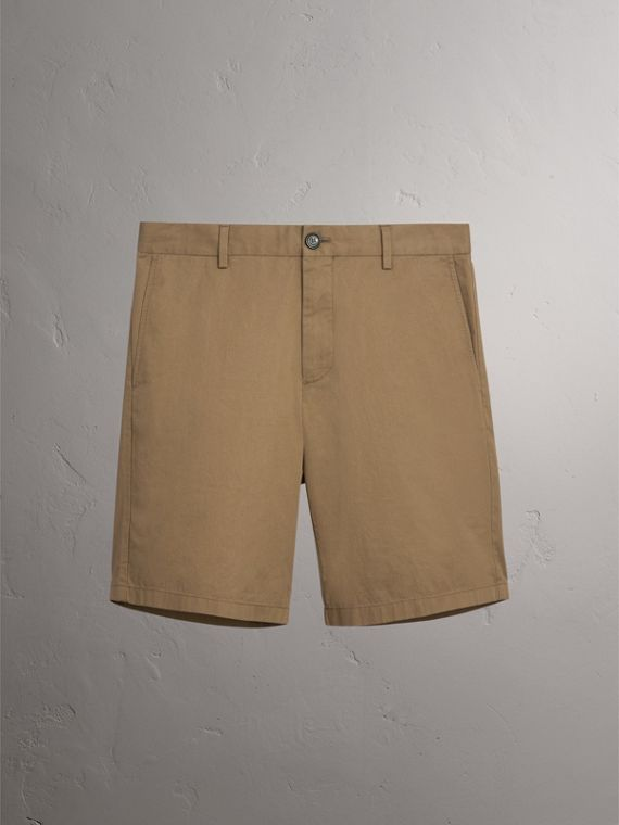 Cotton Twill Chino Shorts in Olive Green - Men | Burberry United Kingdom - cell image 3