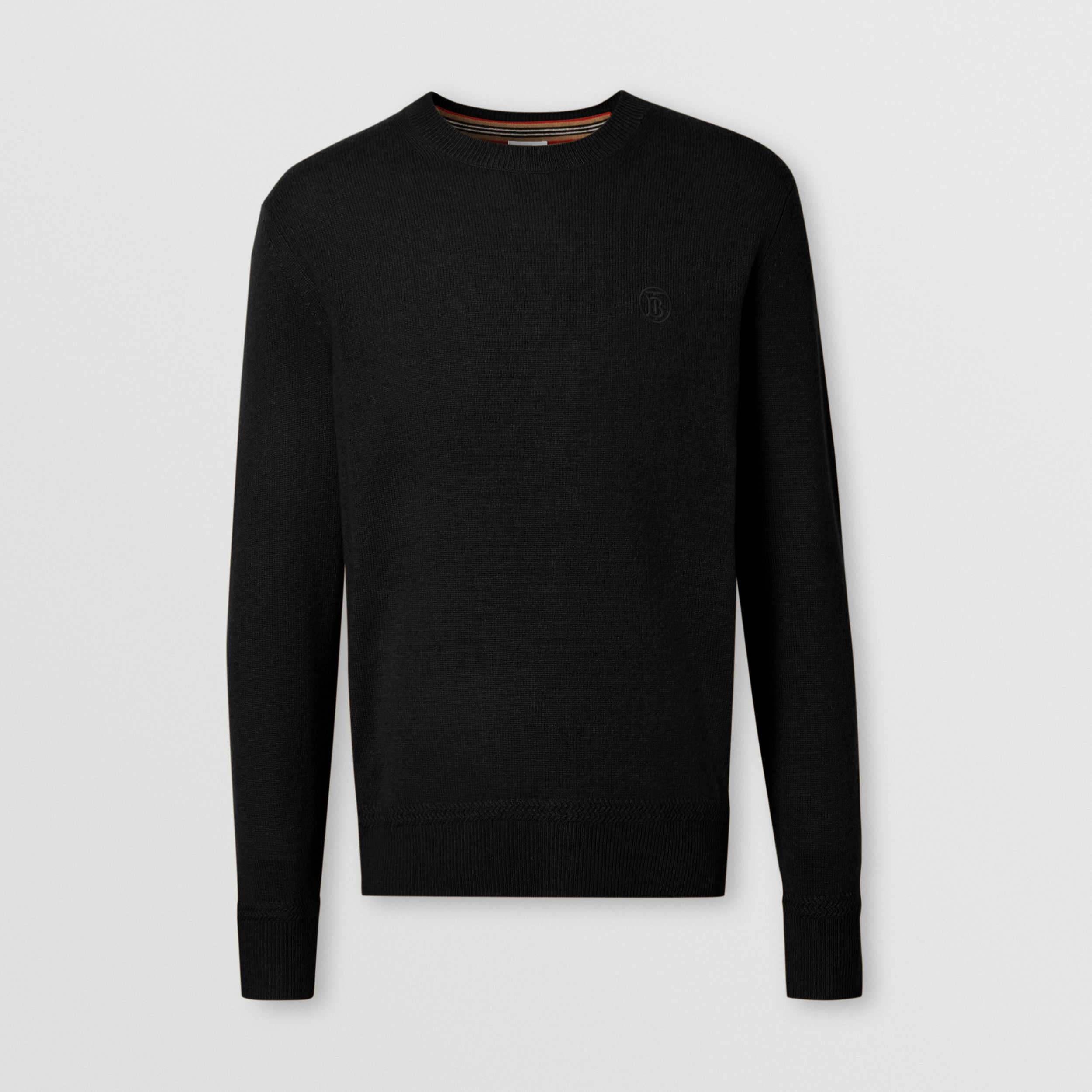 Monogram Motif Cashmere Sweater in Black - Men | Burberry - 4