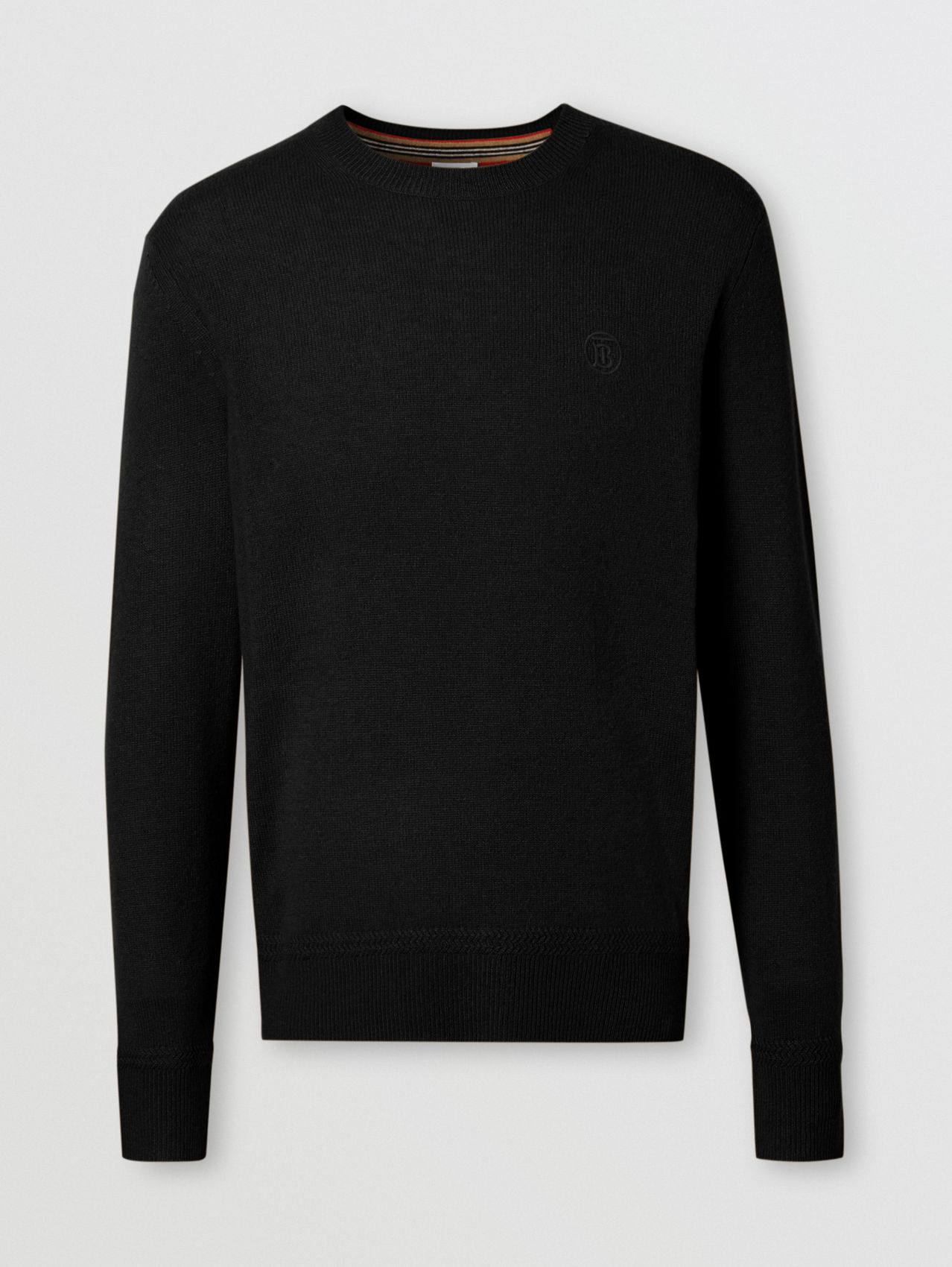 Monogram Motif Cashmere Sweater in Black