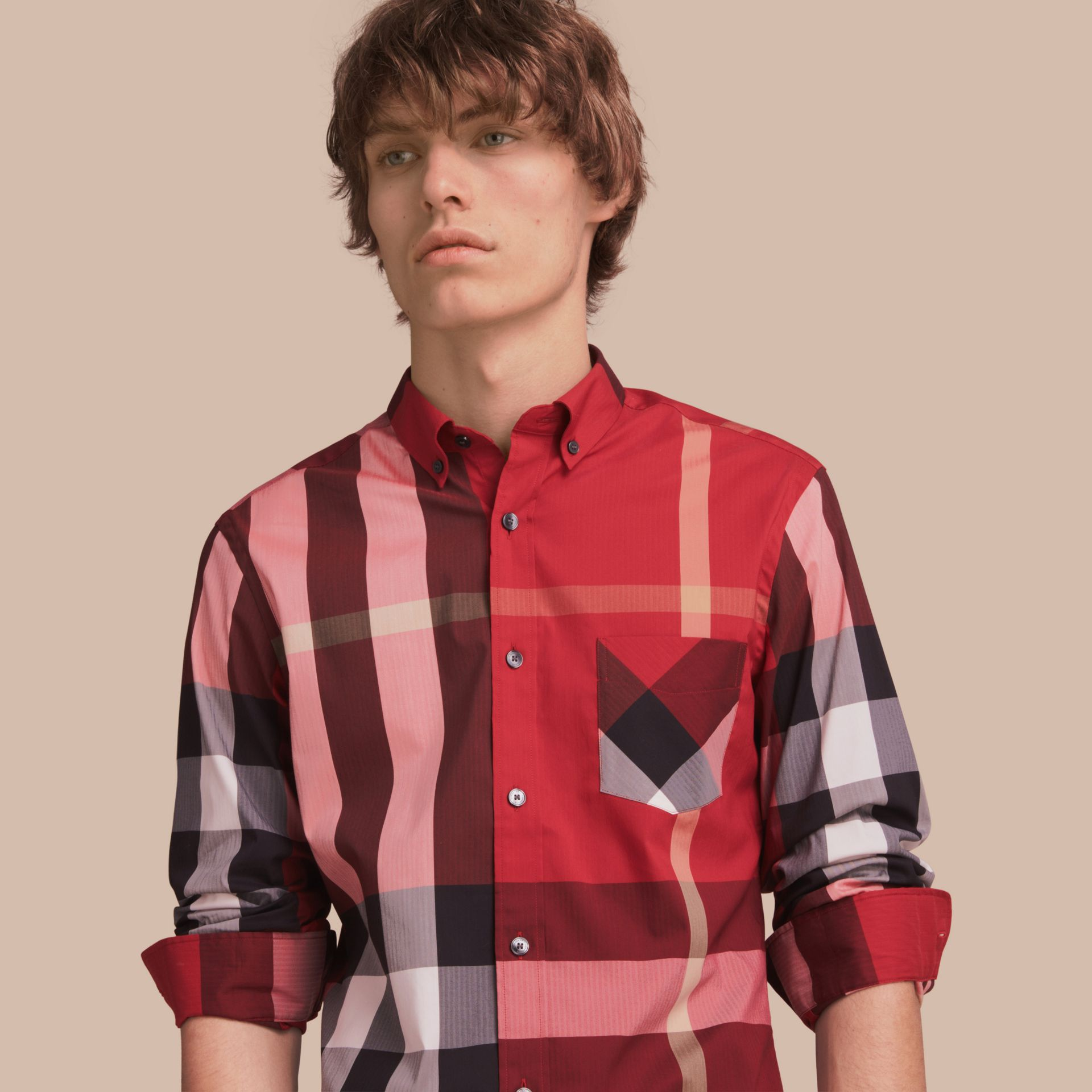 Button-down Collar Check Stretch Cotton Blend Shirt in Parade Red - Men | Burberry Australia - gallery image 1
