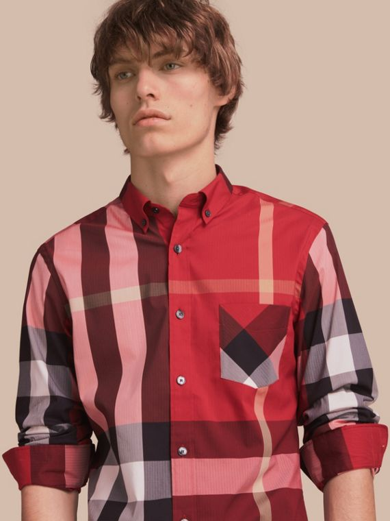 Button-down Collar Check Stretch Cotton Blend Shirt in Parade Red - Men | Burberry Australia