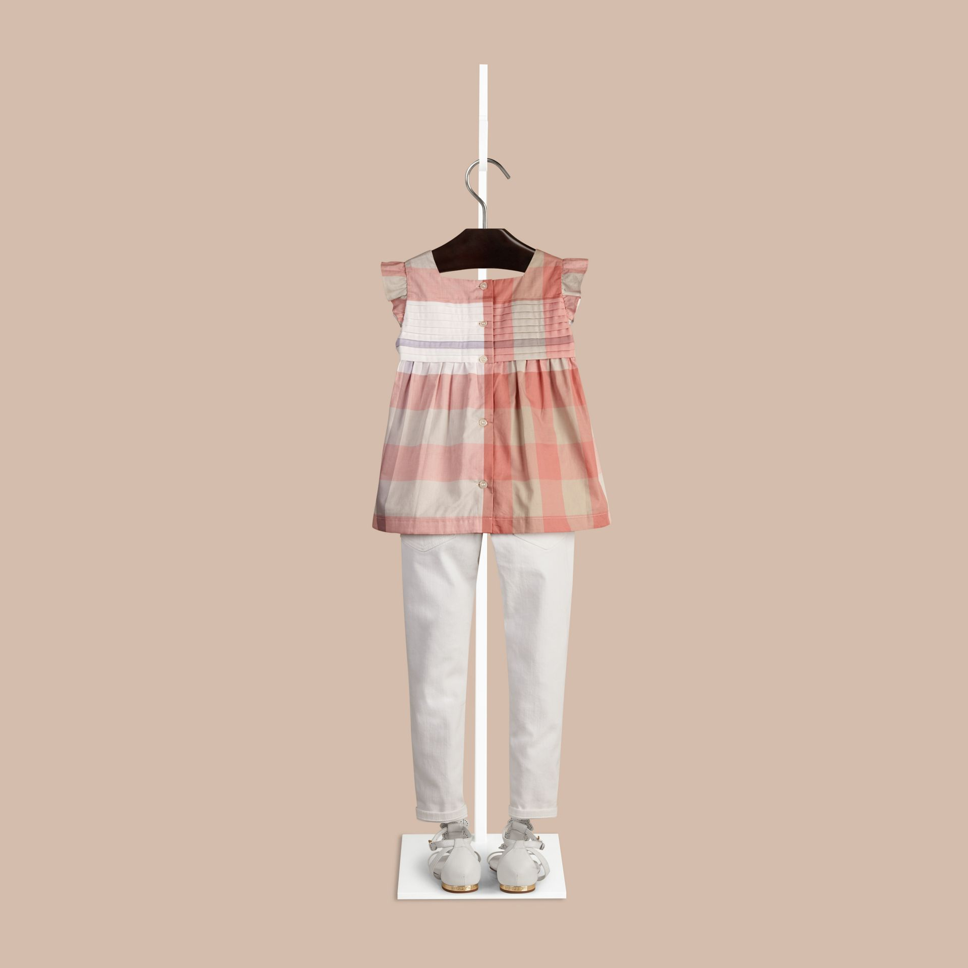 Light copper pink Check Pleat Detail Cotton Blouse Light Copper Pink - gallery image 2