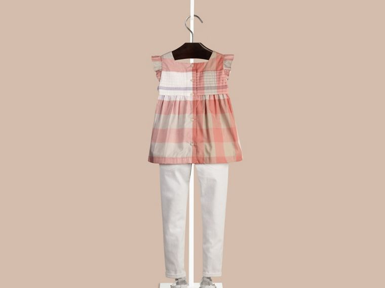 Light copper pink Check Pleat Detail Cotton Blouse Light Copper Pink - cell image 1
