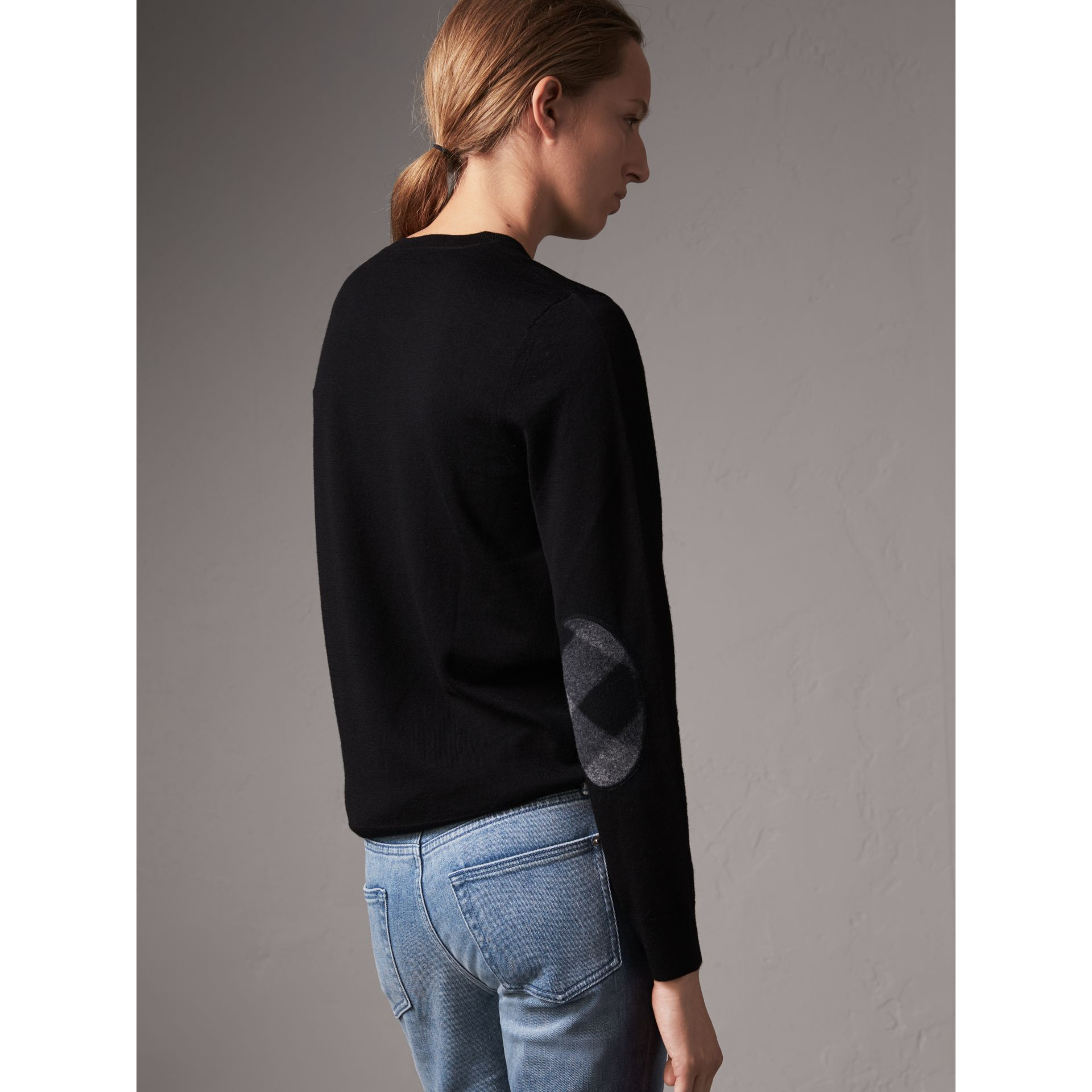Check Detail Merino Wool Crew Neck Sweater in Black - Women | Burberry - gallery image 3