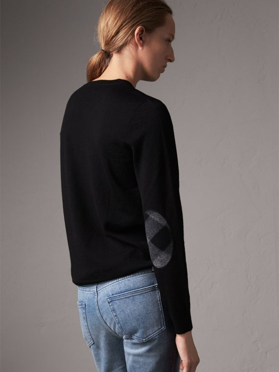 Check Detail Merino Wool Crew Neck Sweater in Black - Women | Burberry United States - cell image 2