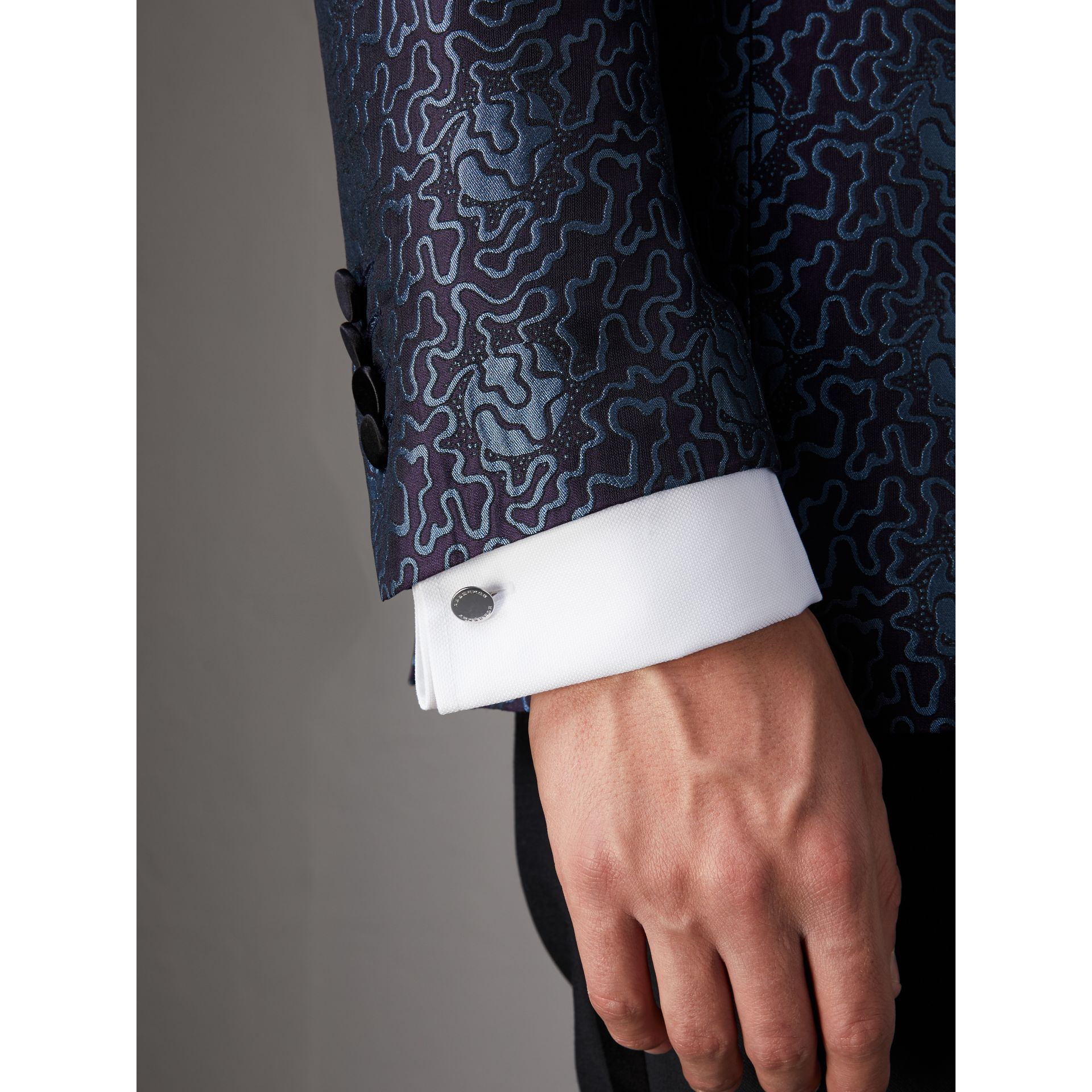 Slim Fit Swirl Silk Cotton Jacquard Evening Jacket in Steel Blue - Men | Burberry - gallery image 7