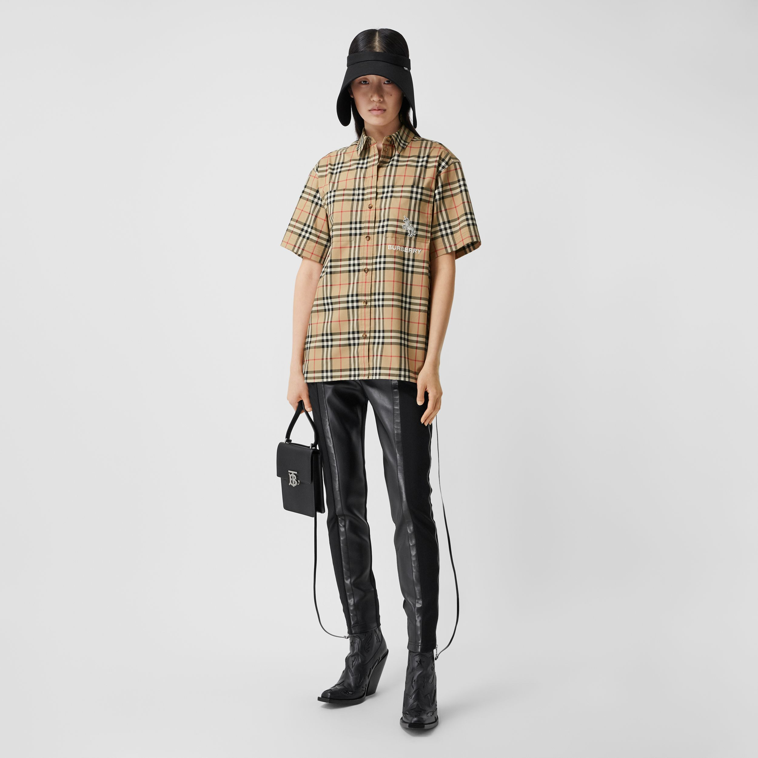 Zebra Appliqué Vintage Check Cotton Twill Shirt - Women | Burberry - 1