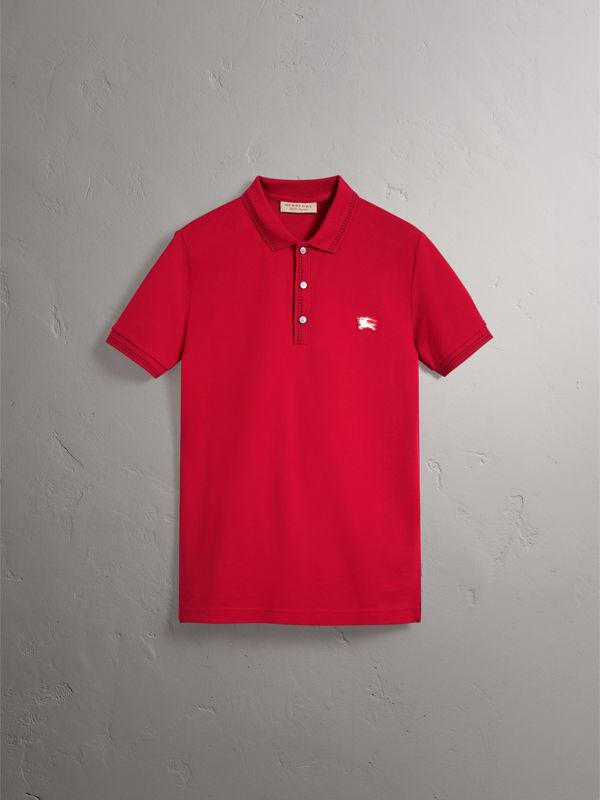 Cotton Piqué Polo Shirt in Military Red - Men | Burberry Australia - cell image 3