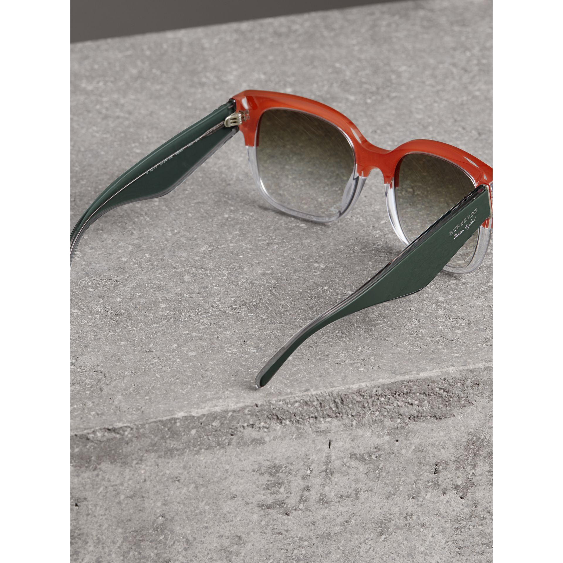 Two-tone Oversize Square Frame Sunglasses in Orange - Women | Burberry Singapore - gallery image 4