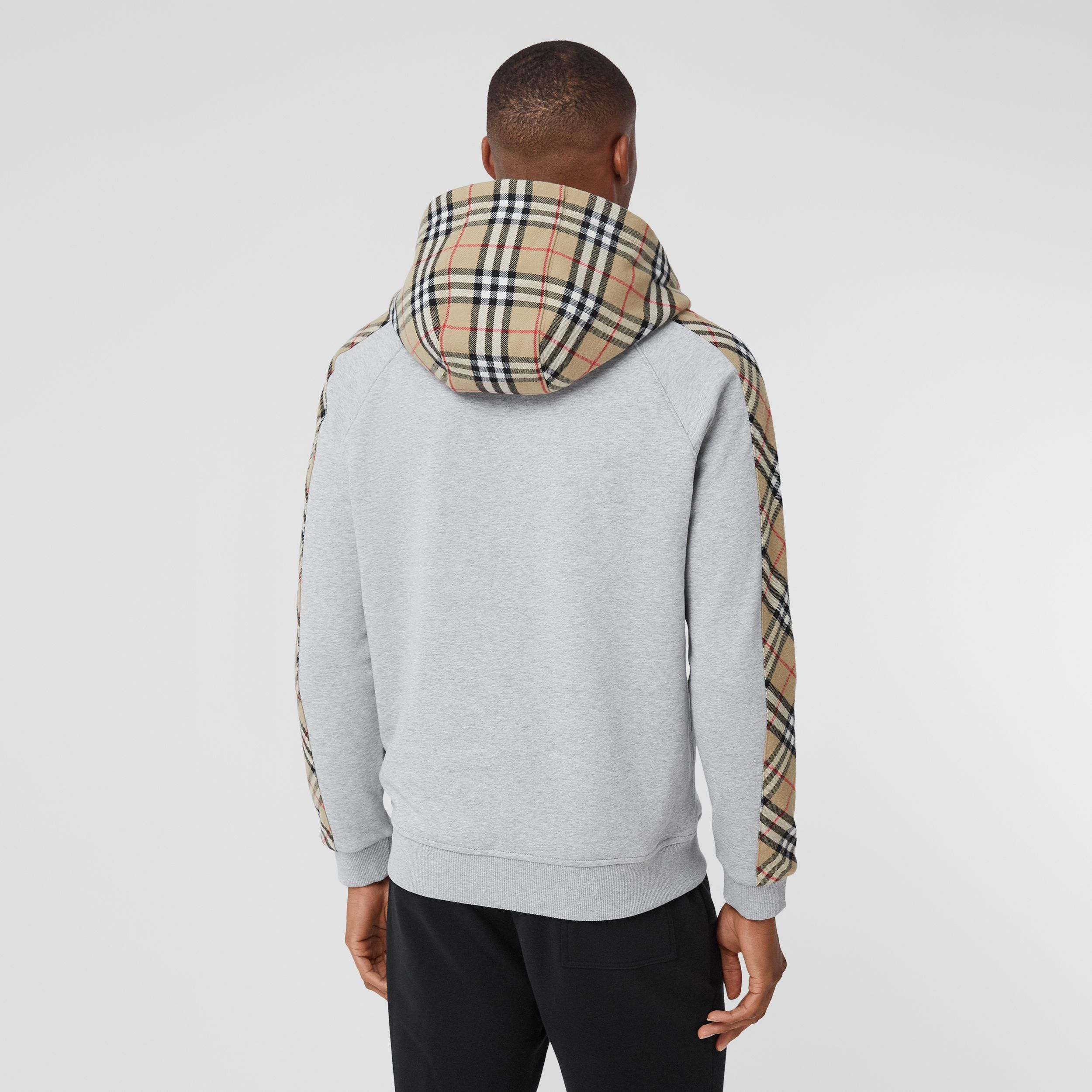 Vintage Check Panel Cotton Hooded Top in Pale Grey Melange - Men | Burberry - 3