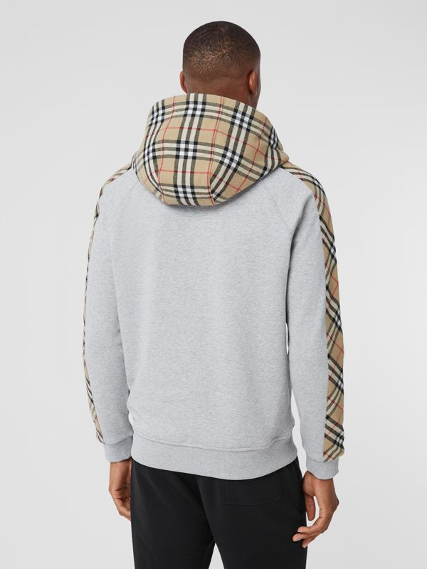 Vintage Check Panel Cotton Hooded Top in Pale Grey Melange - Men | Burberry - cell image 2