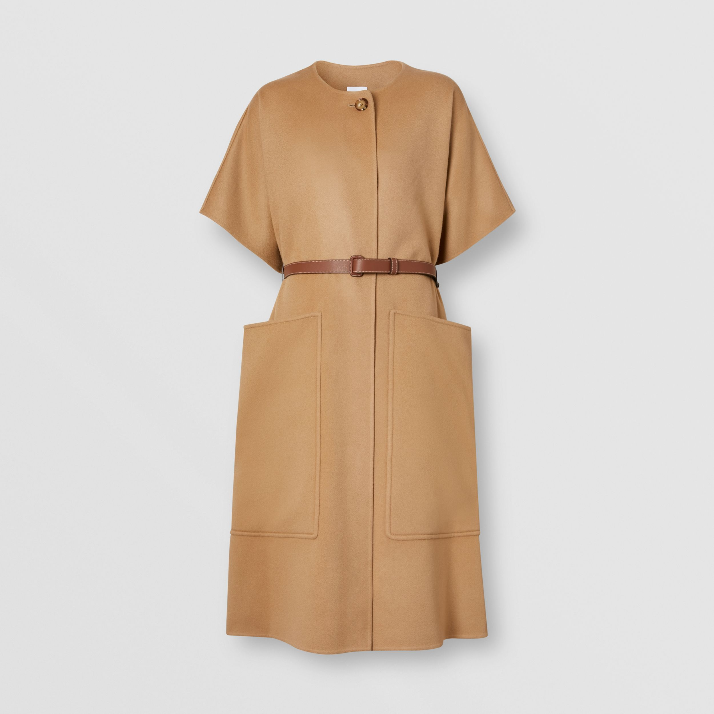 Short-sleeve Double-faced Cashmere Belted Cape – Unisex in Camel - Women | Burberry Australia - 4