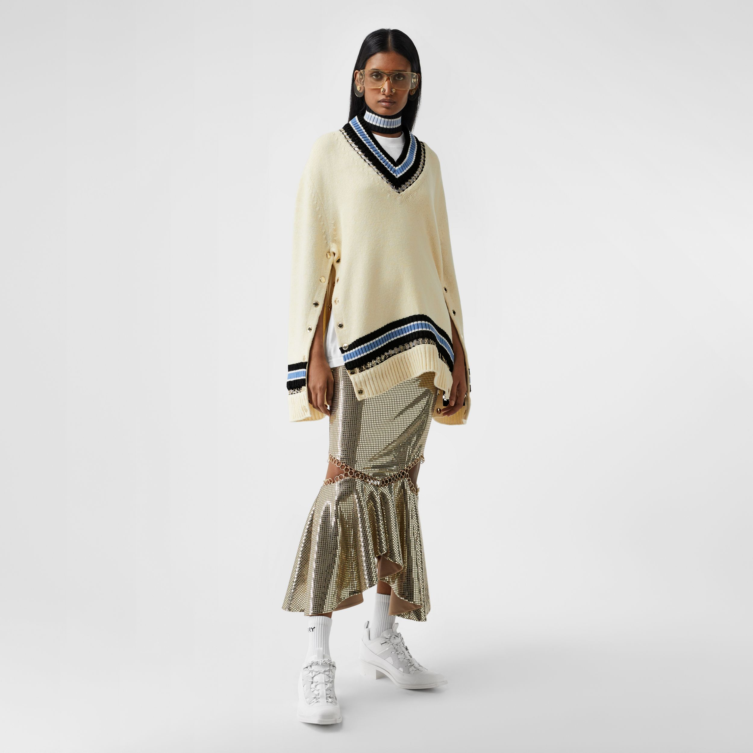 Ring-pierced Wool Oversized Cricket Sweater in White - Women | Burberry - 1