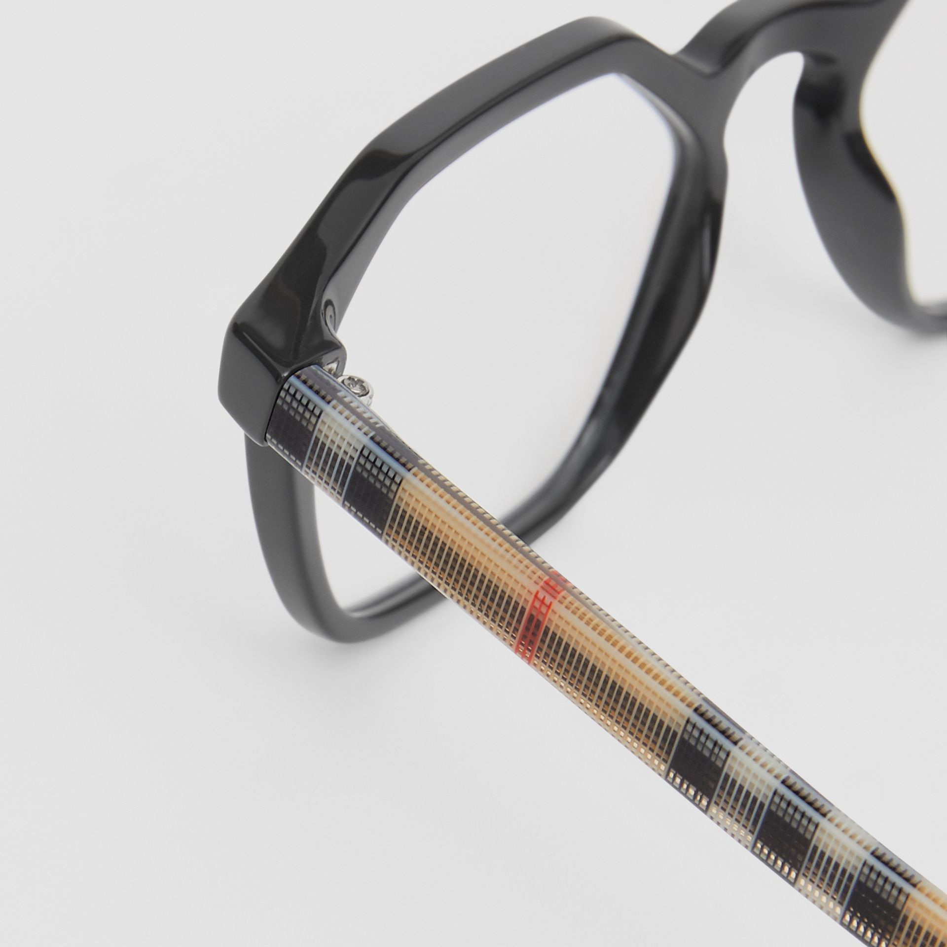 Vintage Check Detail Geometric Optical Frames in Black - Women | Burberry United Kingdom - gallery image 1