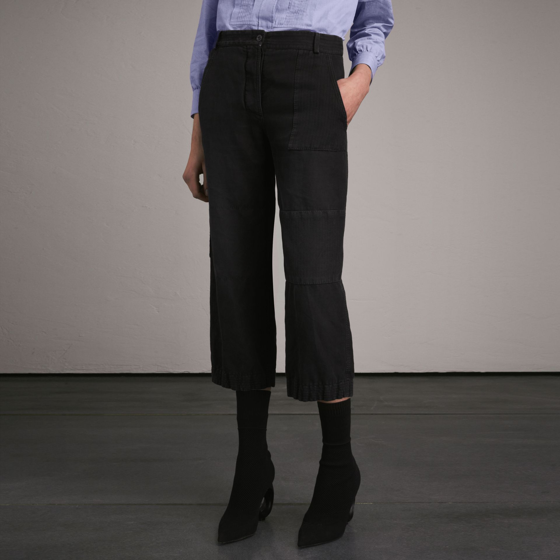 Ramie Cotton Cropped Workwear Trousers in Black - Women | Burberry - gallery image 1