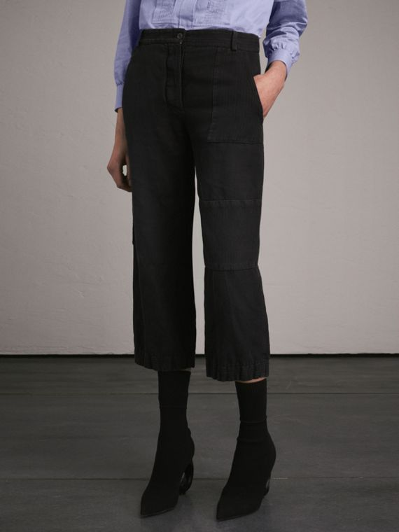 Washed Ramie Cotton Cropped Workwear Trousers Black