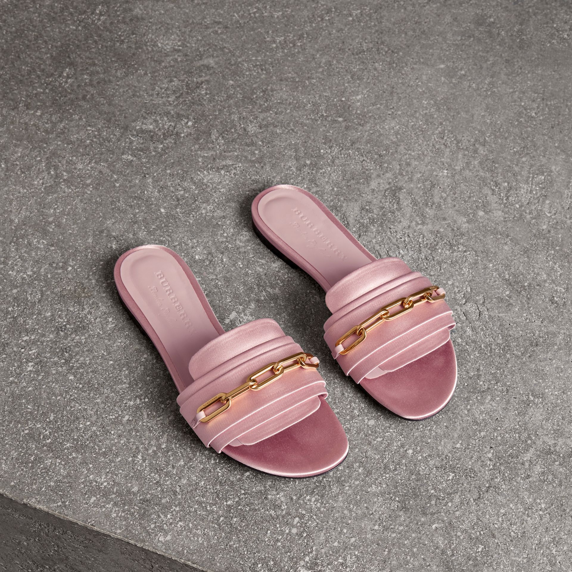 Link Detail Satin and Leather Slides in Light Pink Melange - Women | Burberry United States - gallery image 0