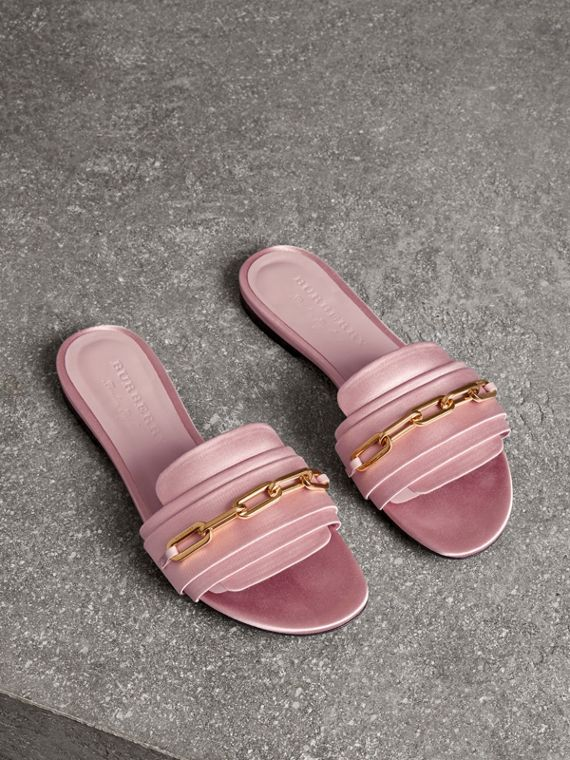 Link Detail Satin and Leather Slides in Light Pink Melange