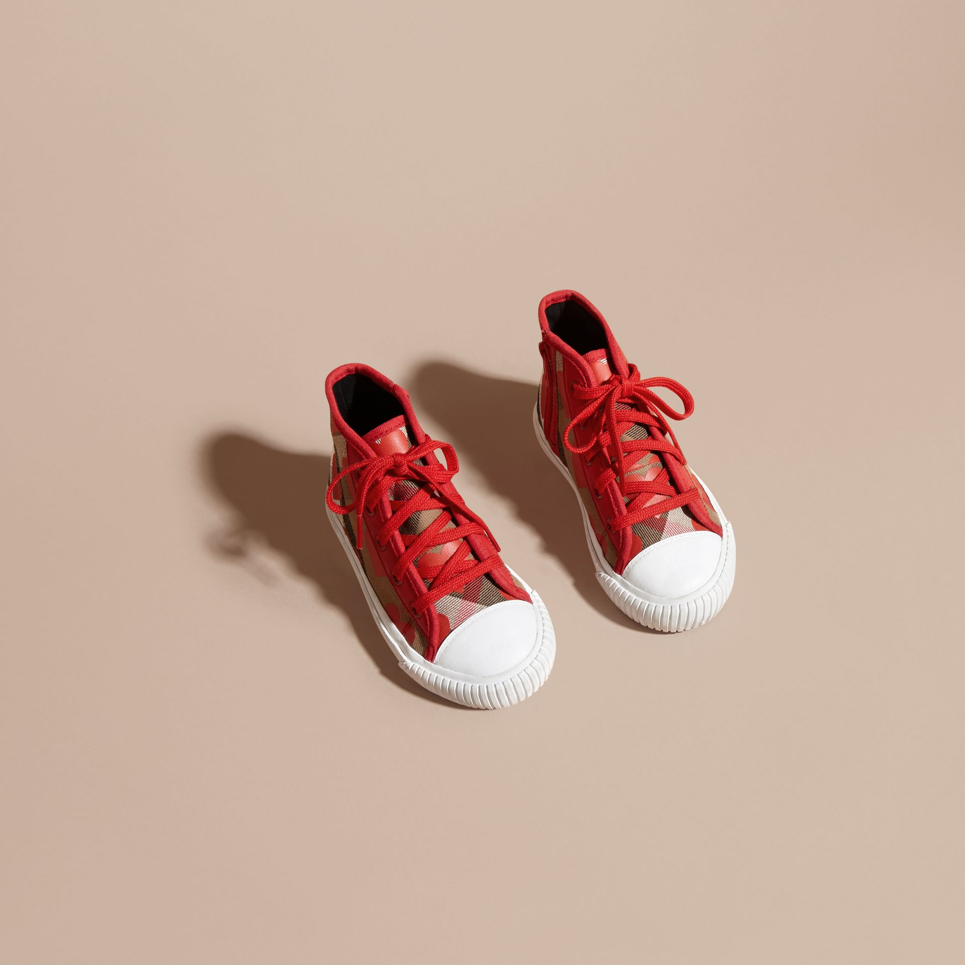 Military red Leather Trim Dot Print Check High-top Trainers Military Red - gallery image 3