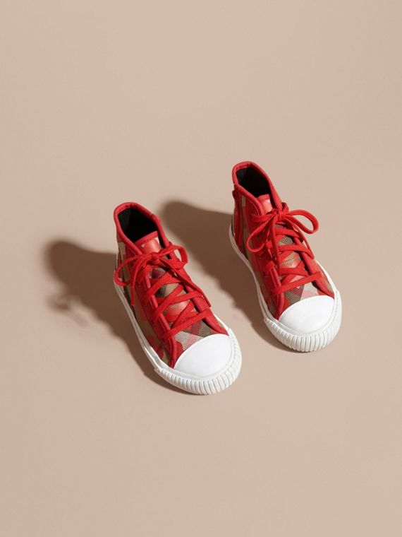 Military red Leather Trim Dot Print Check High-top Trainers Military Red - cell image 2
