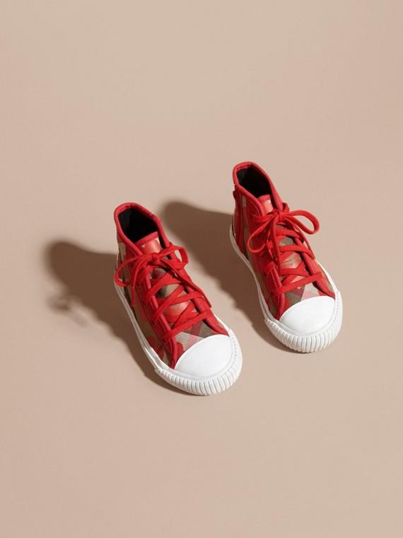 Rosso militare Sneaker alte con motivo check, stampa a pois e finiture in pelle Rosso Militare - cell image 2