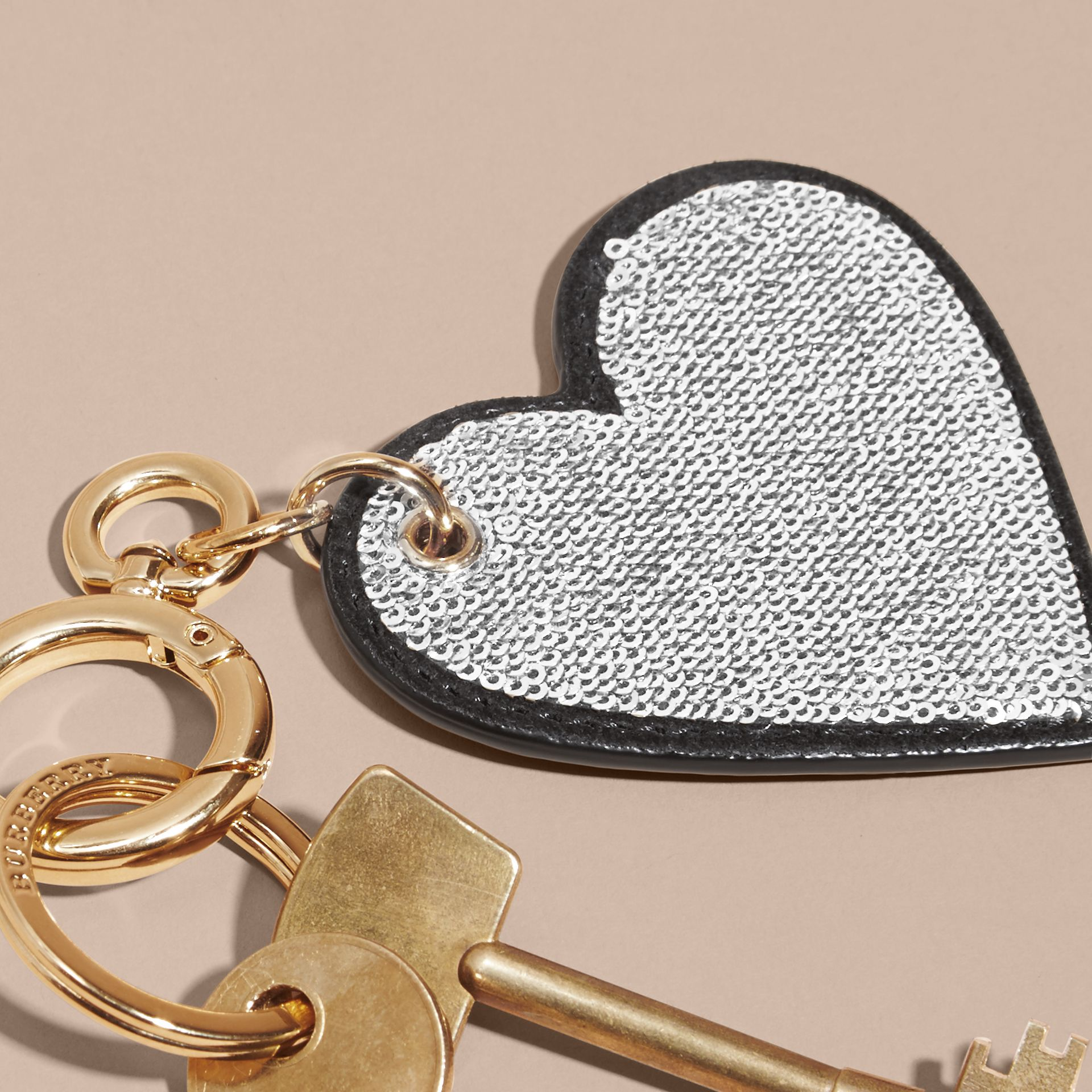 Sequinned Heart Key Charm in White/black - gallery image 2