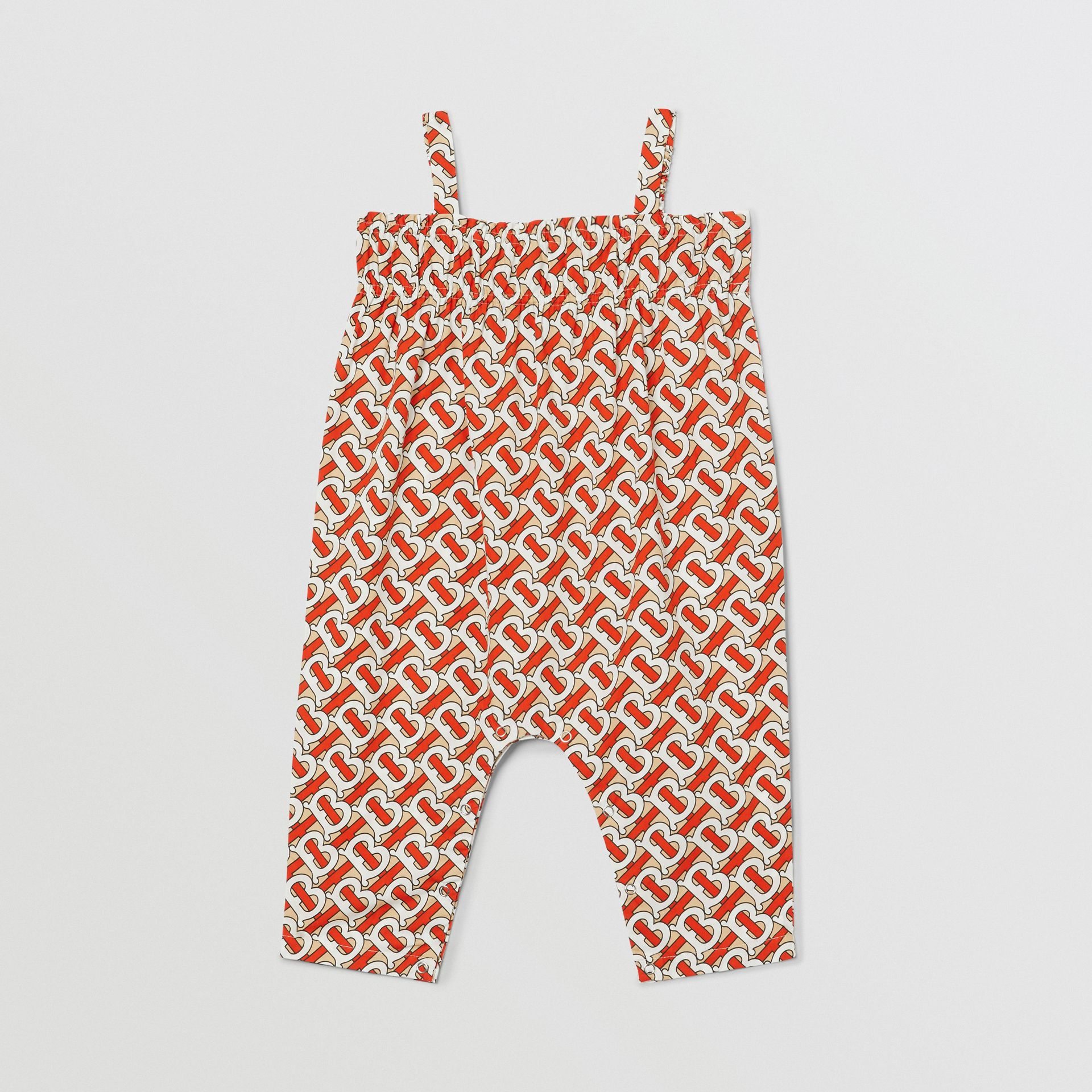 Smocked Monogram Print Cotton Poplin Jumpsuit in Vermilion Red - Children | Burberry - gallery image 0