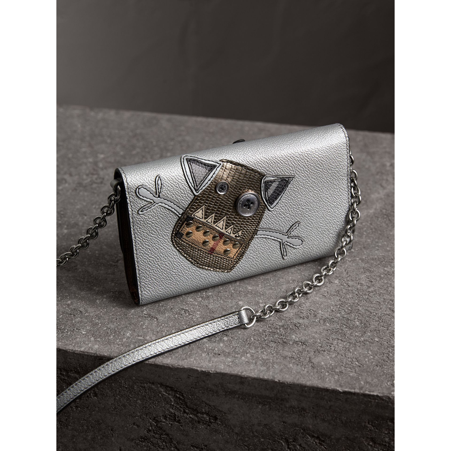 Creature Appliqué Metallic Leather Wallet with Chain in Silver/multicolour - Women | Burberry - gallery image 4