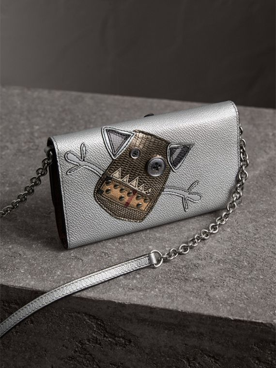 Creature Appliqué Metallic Leather Wallet with Chain in Silver/multicolour - Women | Burberry - cell image 3