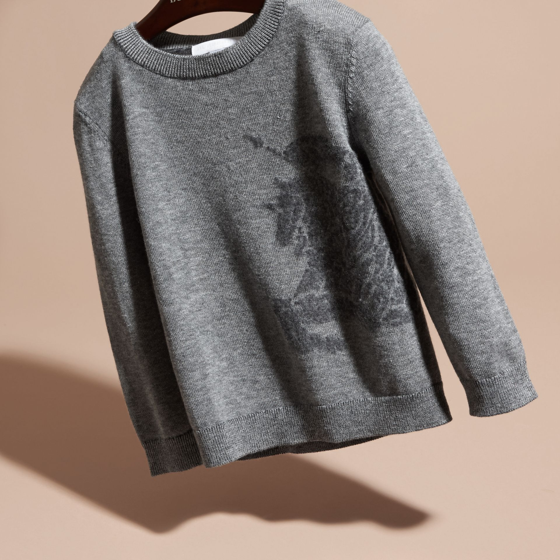 Light grey melange Equestrian Knight Detail Cashmere Sweater - gallery image 3