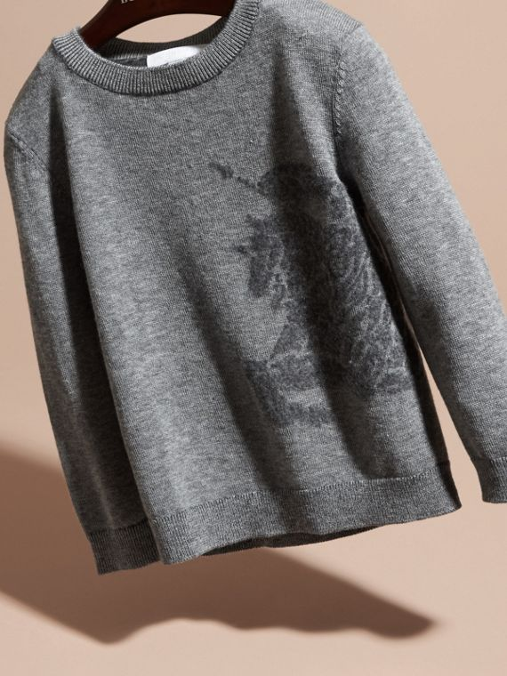 Equestrian Knight Detail Cashmere Sweater in Light Grey Melange - Boy | Burberry United Kingdom - cell image 2