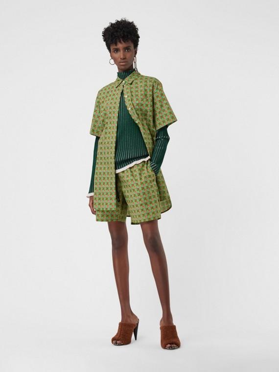 Jersey en seda y cachemir con cuello alto (Verde Bosque Oscuro)