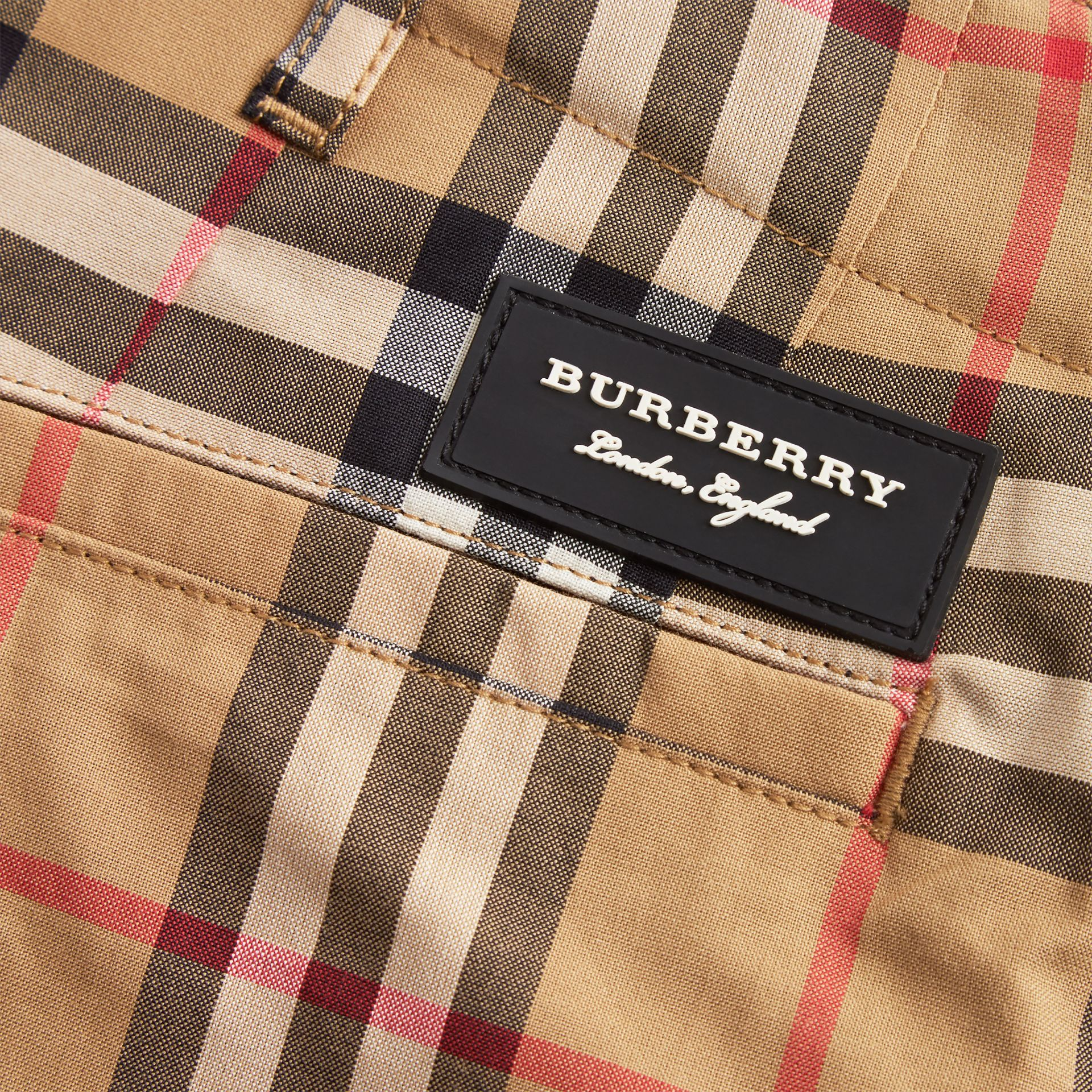 Vintage Check Cotton Tailored Trousers in Antique Yellow | Burberry - gallery image 1