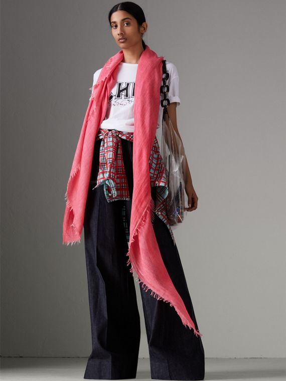 Embroidered Cashmere Cotton Scarf in Bright Coral Pink | Burberry - cell image 2