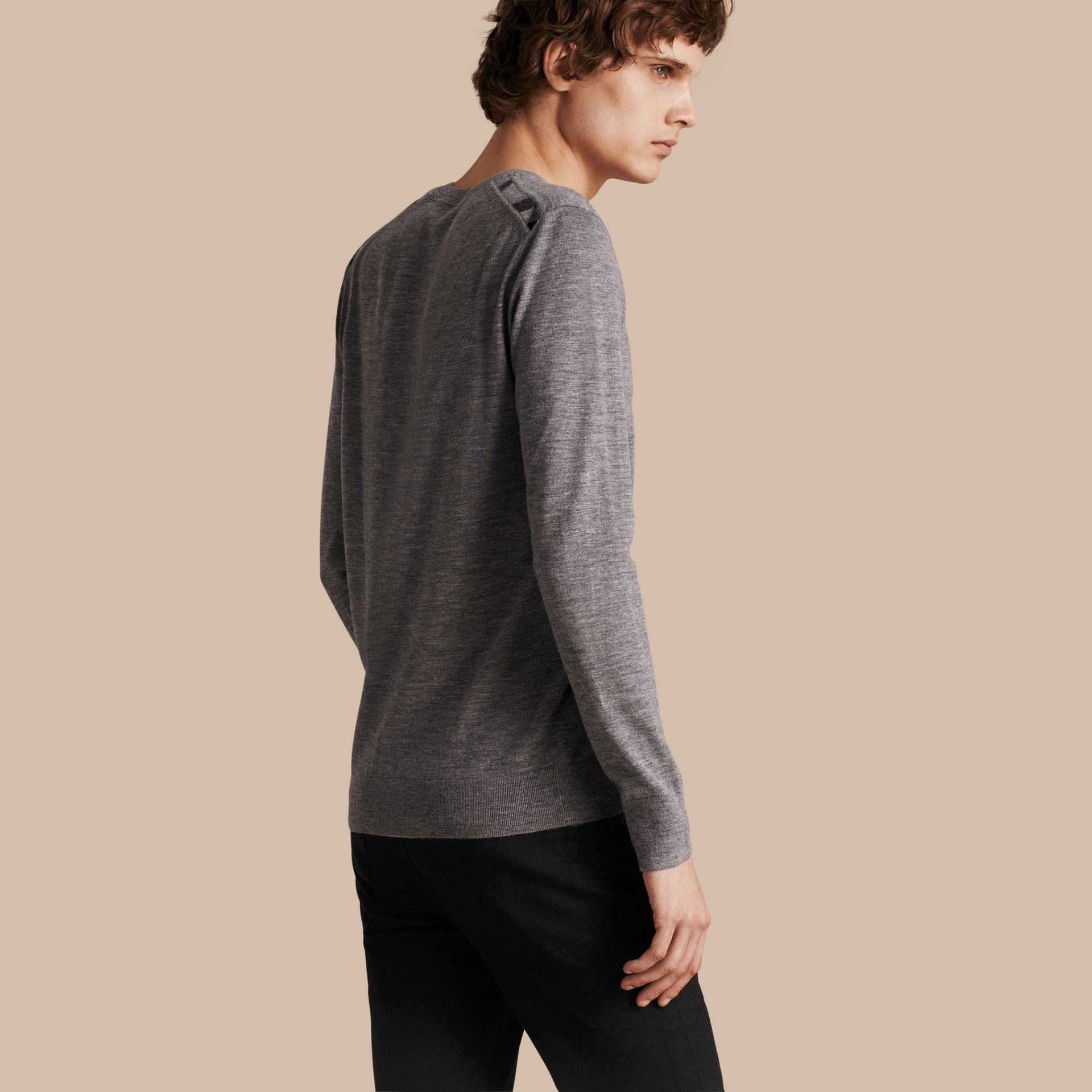 Pale grey melange Lightweight Crew Neck Cashmere Sweater with Check Trim Pale Grey Melange - gallery image 1