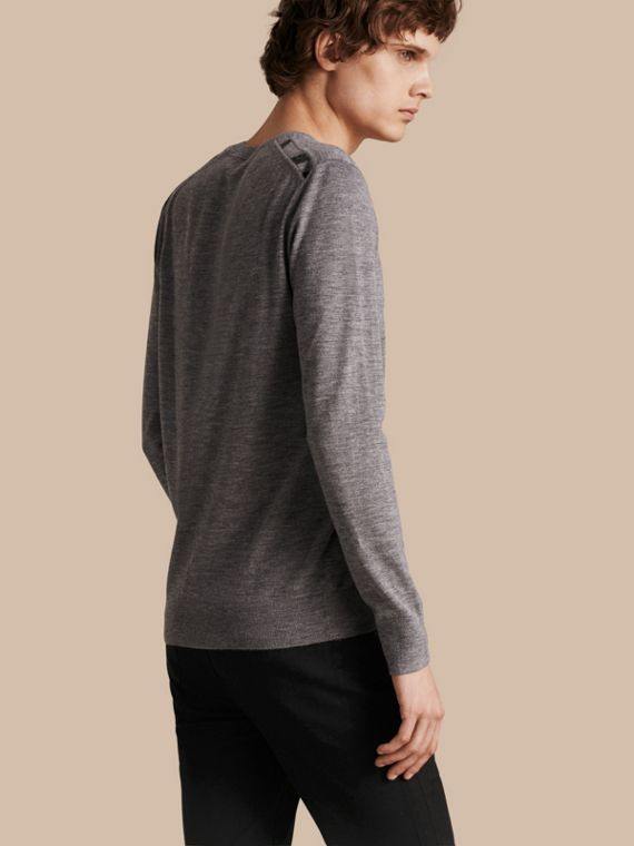 Lightweight Crew Neck Cashmere Sweater with Check Trim Pale Grey Melange