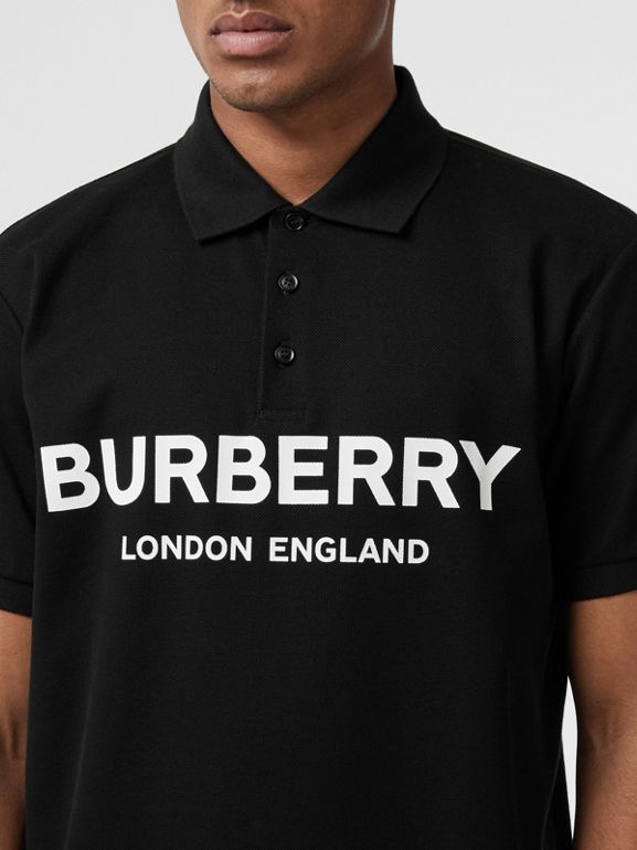 Logo Print Cotton Piqué Polo Shirt in Black - Men | Burberry Australia - cell image 1