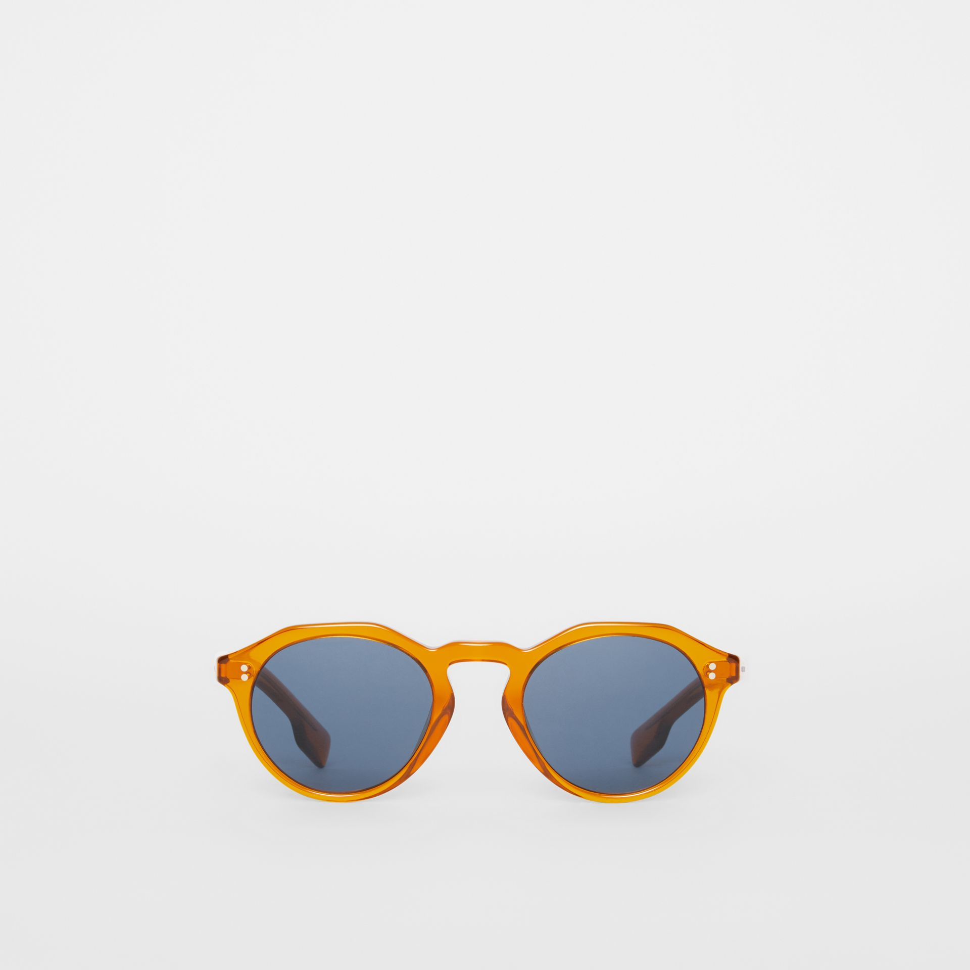 Keyhole Round Frame Sunglasses in Orange - Men | Burberry United Kingdom - gallery image 0