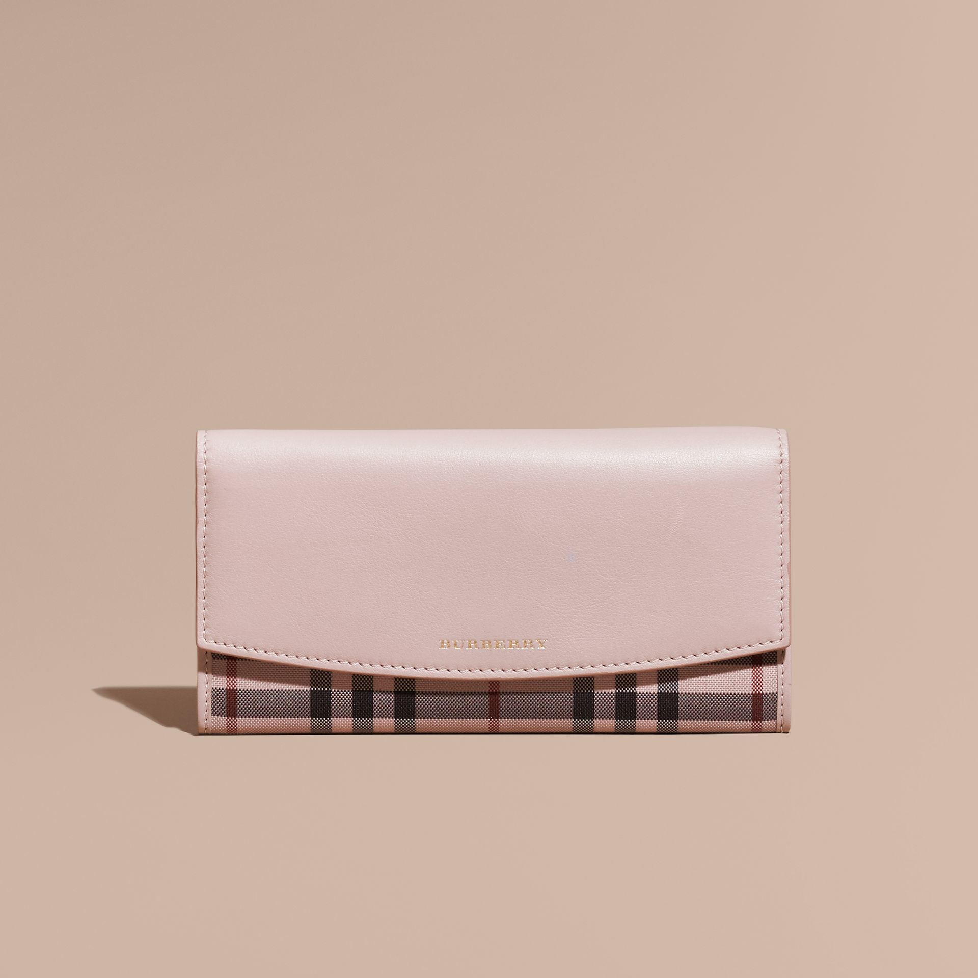 Pale orchid House Check And Leather Continental Wallet Pale Orchid - gallery image 1