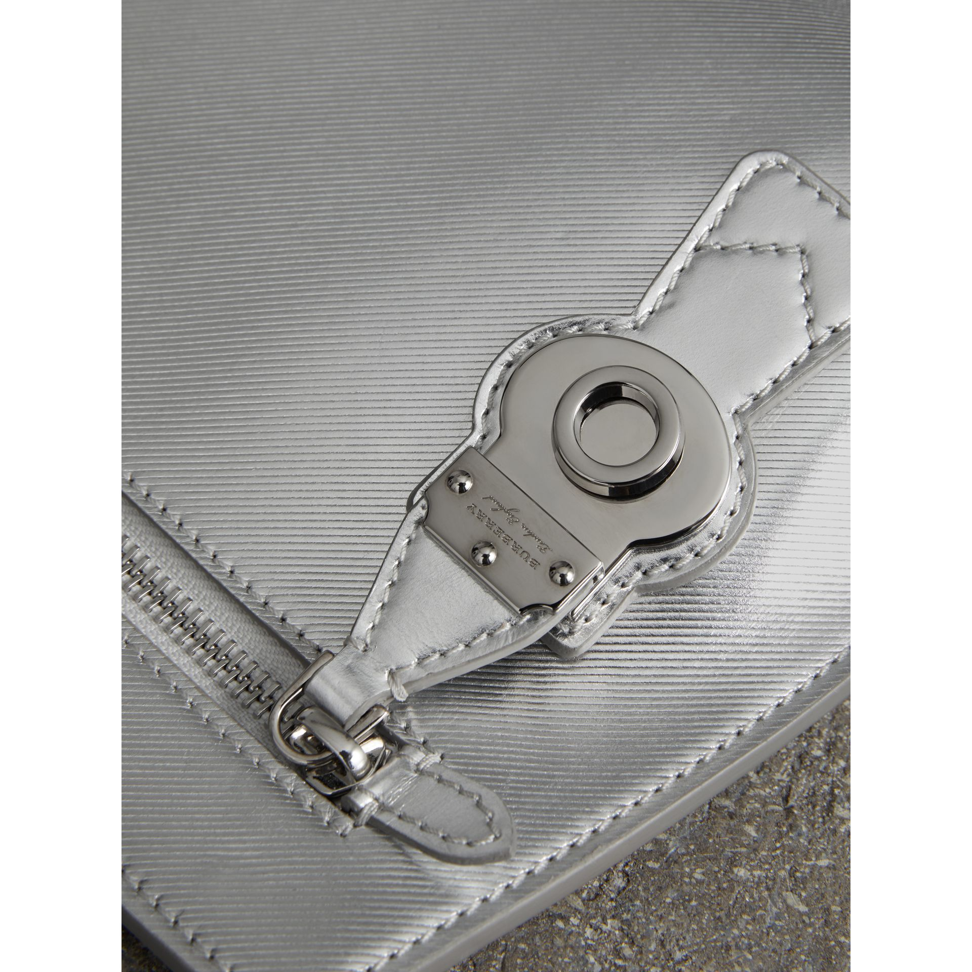 Metallic Trench Leather Pouch in Silver - Women | Burberry United States - gallery image 1